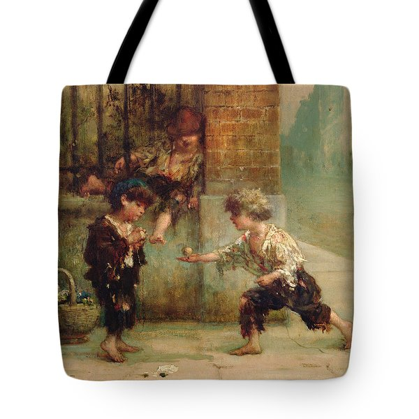 Playing With A Top Tote Bag by Albert Snr Ludovici