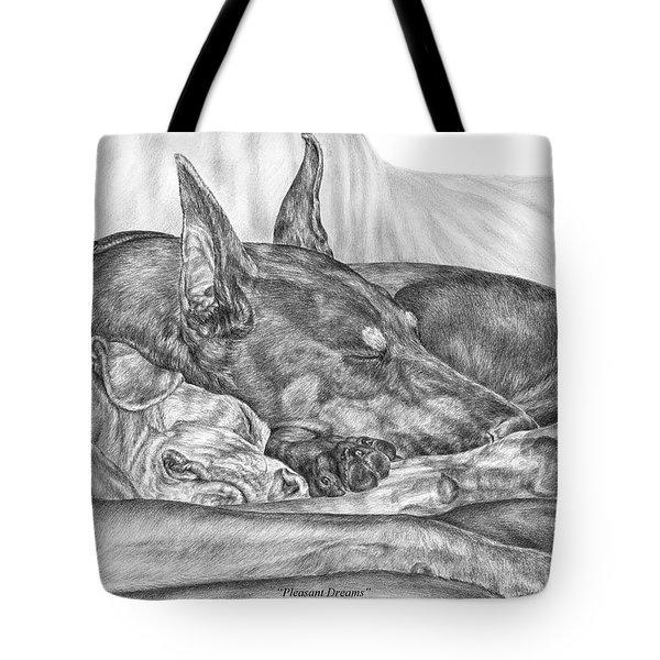 Pleasant Dreams - Doberman Pinscher Dog Art Print Tote Bag