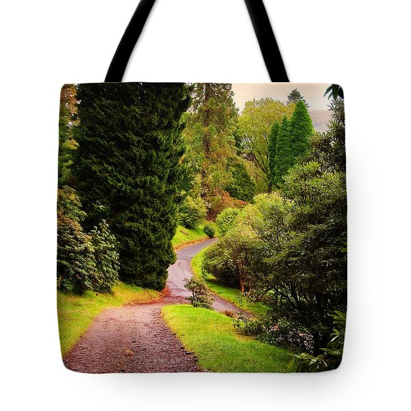 Pleasant Path. Benmore Botanical Garden. Scotland Tote Bag by Jenny Rainbow