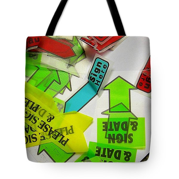 Please Sign Here Tote Bag by Judi Bagwell
