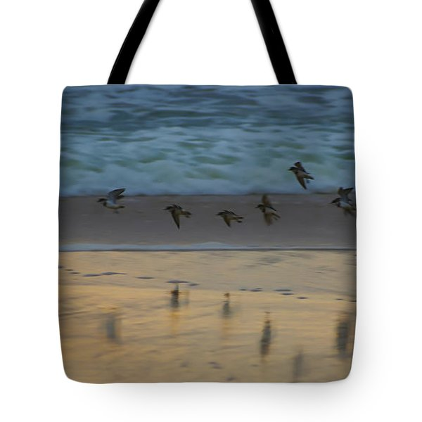 Plovers At Play On A Stormy Morning Tote Bag
