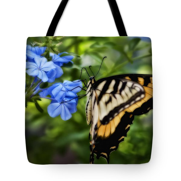 Tote Bag featuring the photograph Plumbago And Swallowtail by Steven Sparks