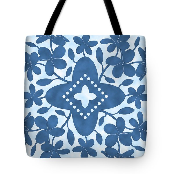 Plumeria Hawaiian Quilt Block Tote Bag