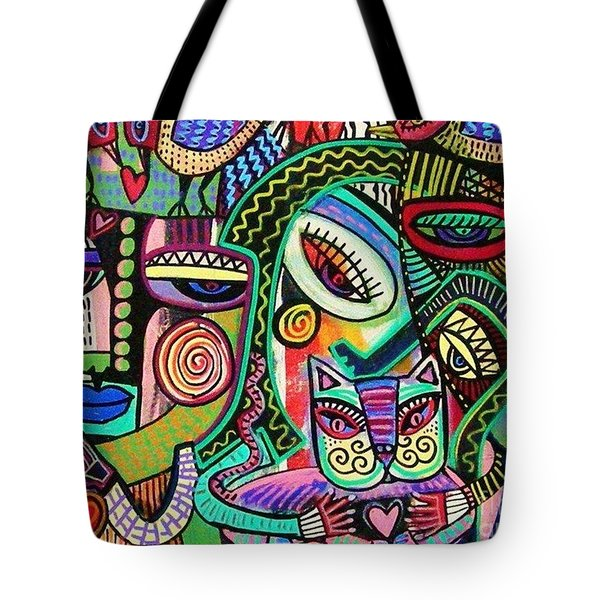 -plump Pink Aztec Kitty And Birds Tote Bag