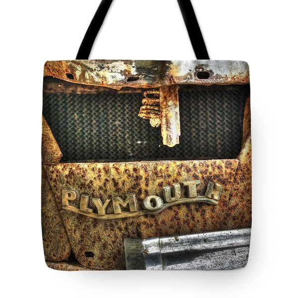 Plymouth Logo Relic Tote Bag by Dan Stone