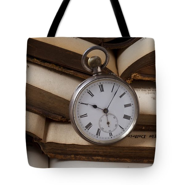 Pocket Watch On Pile Of Books Tote Bag by Garry Gay