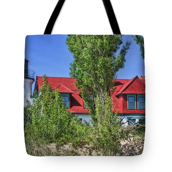 Tote Bag featuring the photograph Point Betsie Lighthouse by Joan Bertucci