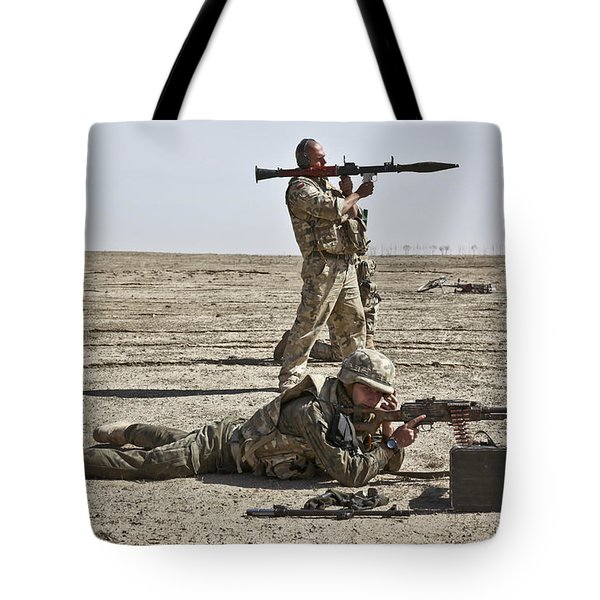 Polish Soldiers Prepare To Fire Tote Bag by Stocktrek Images
