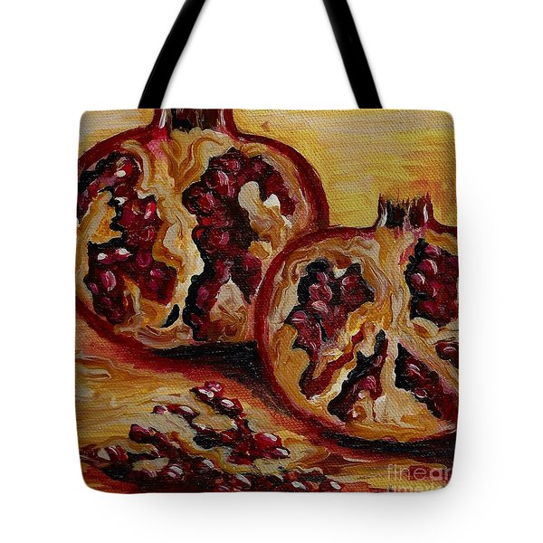 Tote Bag featuring the painting Pomegranate by Karen  Ferrand Carroll