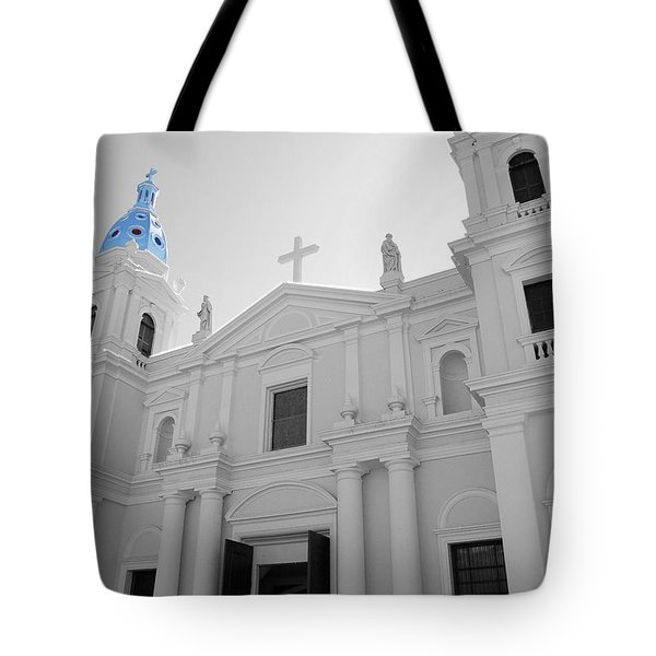 Tote Bag featuring the photograph Ponce Puerto Rico Cathedral Of Our Lady Of Guadalupe Color Splash Black And White by Shawn O'Brien