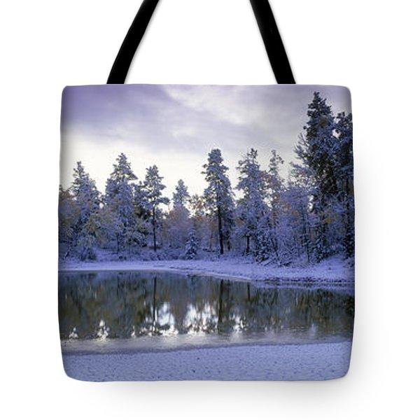 Pond And Fresh Snowfall, Near 70 Mile Tote Bag by David Nunuk