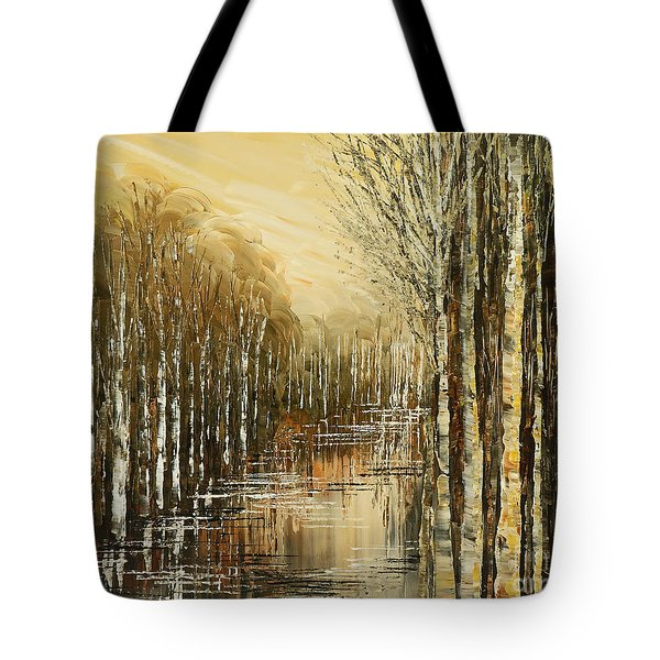 Tote Bag featuring the painting Pond Security by Tatiana Iliina