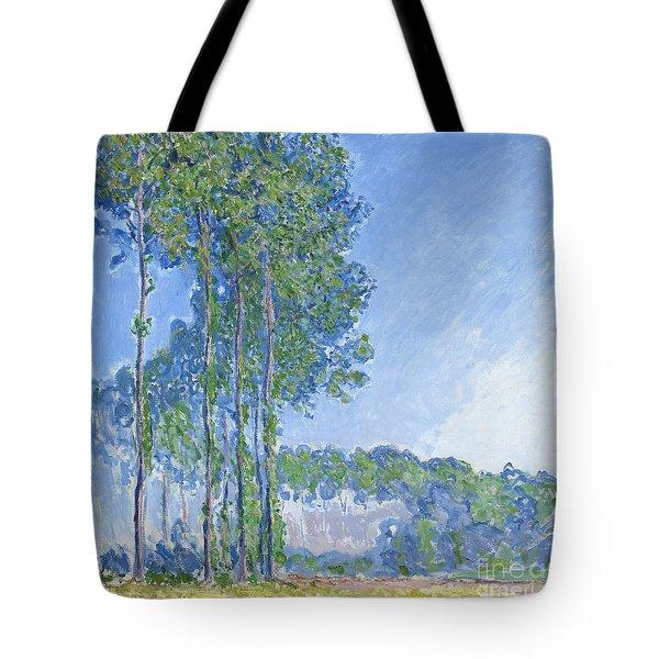 Poplars Tote Bag by Claude Monet