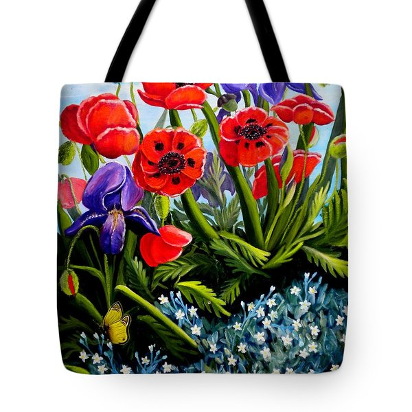 Poppies And Irises Tote Bag
