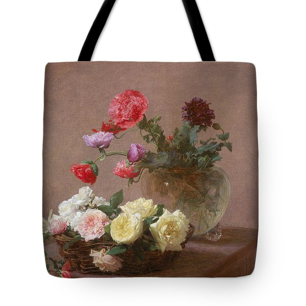 Poppies In A Crystal Vase - Or Basket Of Roses Tote Bag