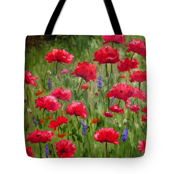 Poppies In A Meadow I Tote Bag