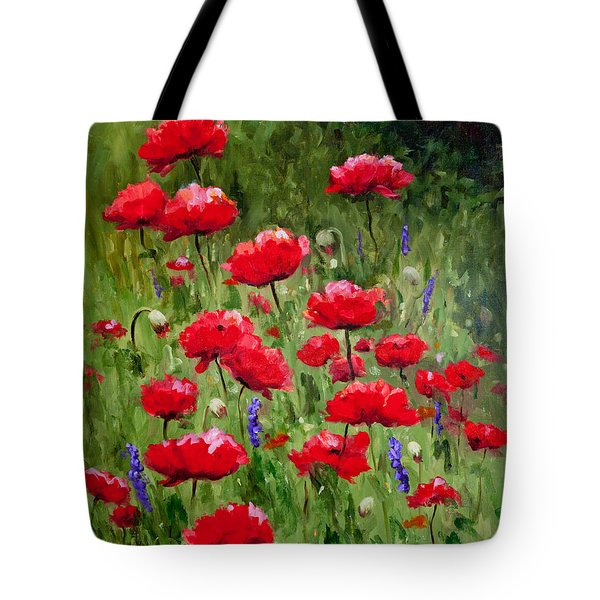 Poppies In A Meadow II Tote Bag