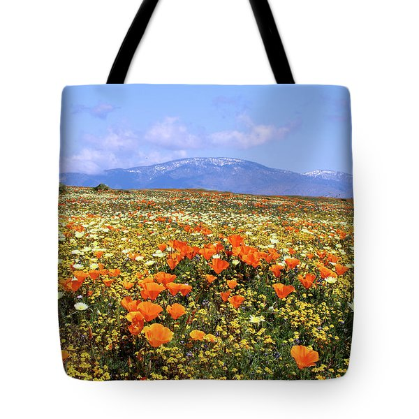Poppies Over The Mountain Tote Bag by Peter Tellone