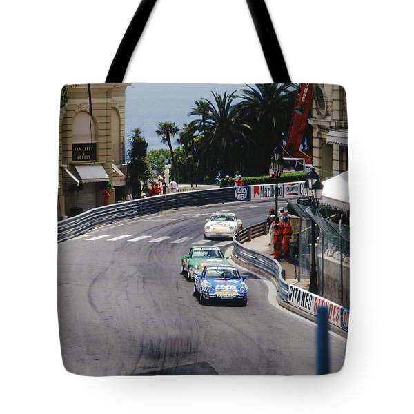 Porsches At Monte Carlo Casino Square Tote Bag by John Bowers
