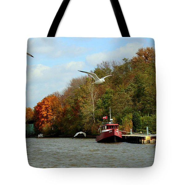 Tote Bag featuring the photograph Port Dover Harbour by Barbara McMahon
