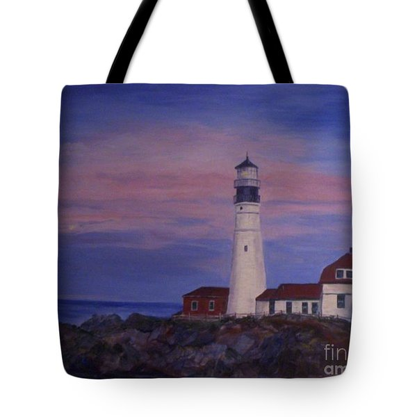 Tote Bag featuring the painting Portland Head Lighthouse At Dawn by Julie Brugh Riffey