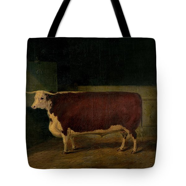 Portrait Of A Prize Hereford Steer Tote Bag by Richard Whitford