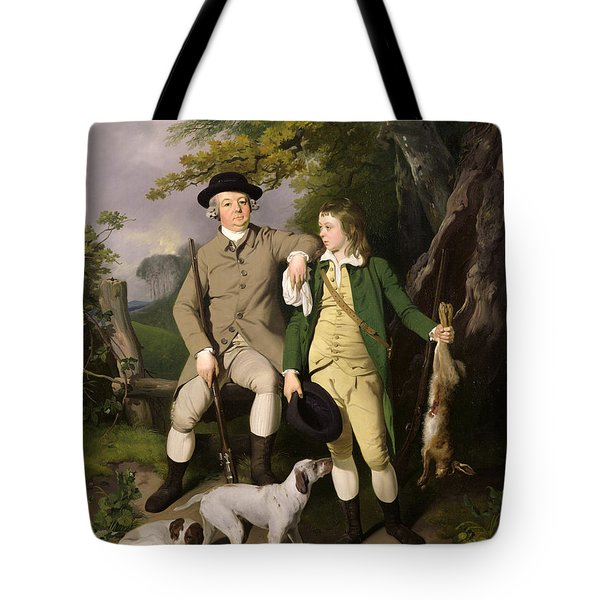 Portrait Of A Sportsman With His Son Tote Bag by Francis Wheatley