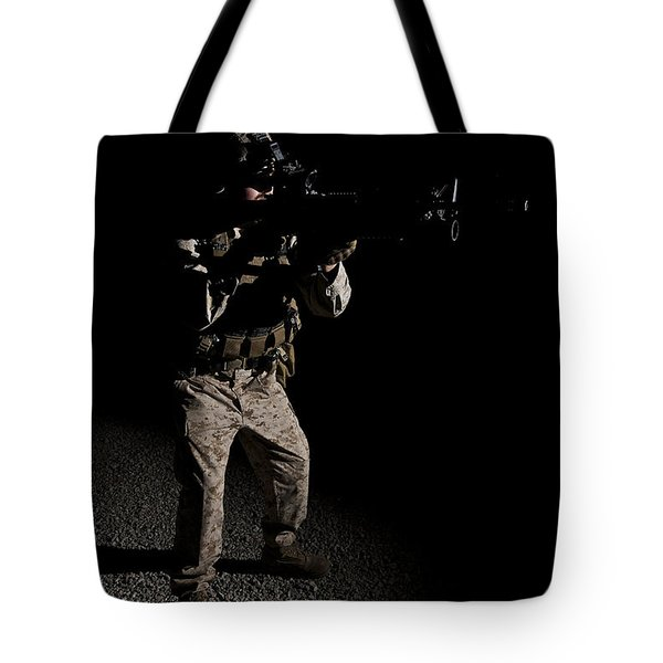 Portrait Of A U.s. Marine In Northern Tote Bag by Terry Moore