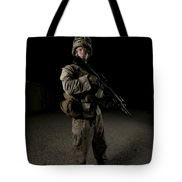 Portrait Of A U.s. Marine Tote Bag by Terry Moore