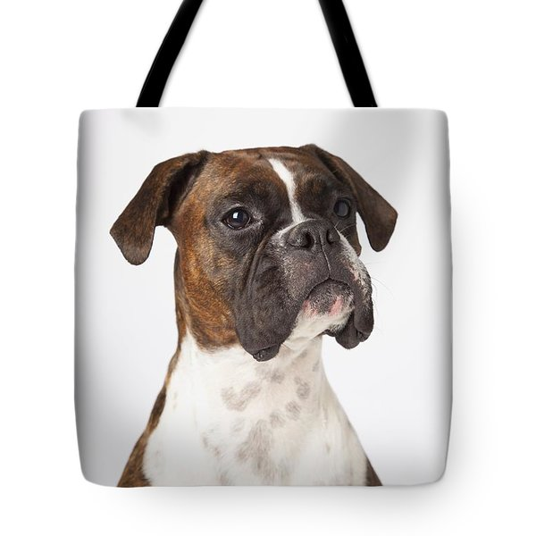 Portrait Of Boxer Dog On White Tote Bag by LJM Photo