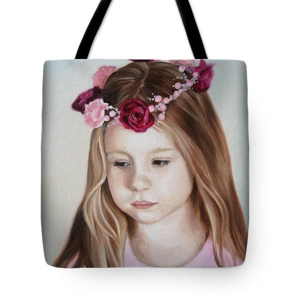 Tote Bag featuring the painting Portrait Of Kristinka by Jindra Noewi