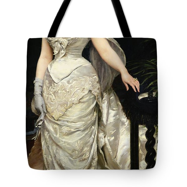 Portrait Of Mademoiselle X Tote Bag by Charles Emile Auguste Carolus Duran
