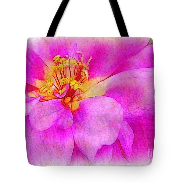 Portulaca With Texture Tote Bag by Judi Bagwell