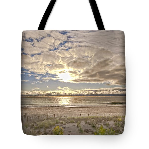 Tote Bag featuring the photograph Post-tourist Sunrise Ocean City by Jim Moore