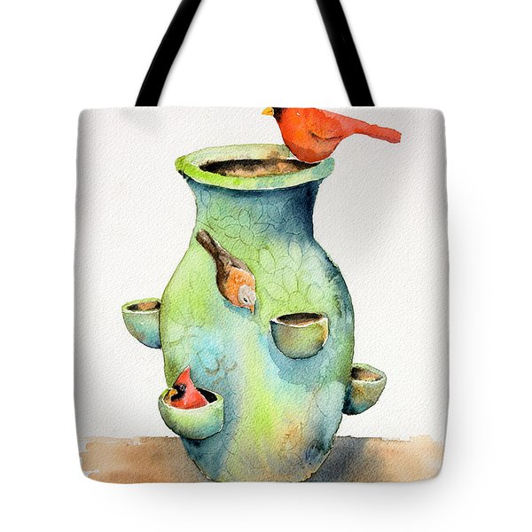 Pottery Vase And Birds Tote Bag by Arline Wagner
