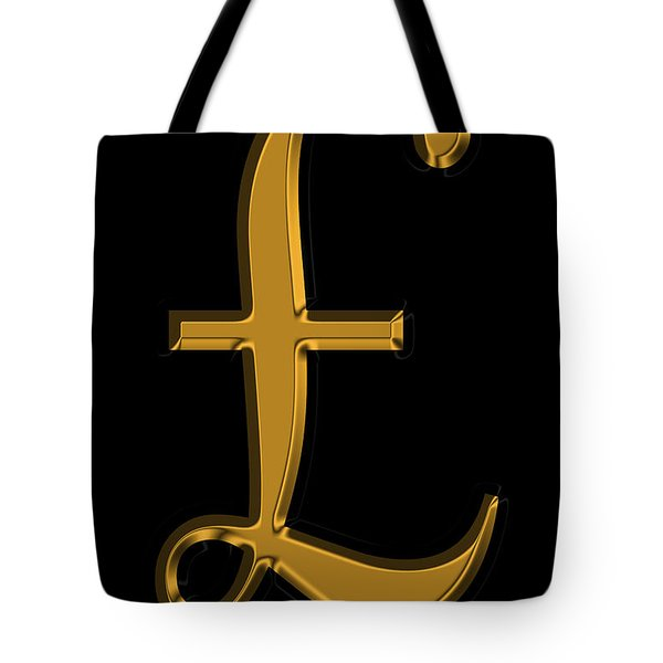 Pound Sterling In Gold Tote Bag by Andrew Fare