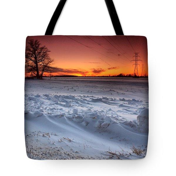 Powerlines In Winter Tote Bag by Cale Best