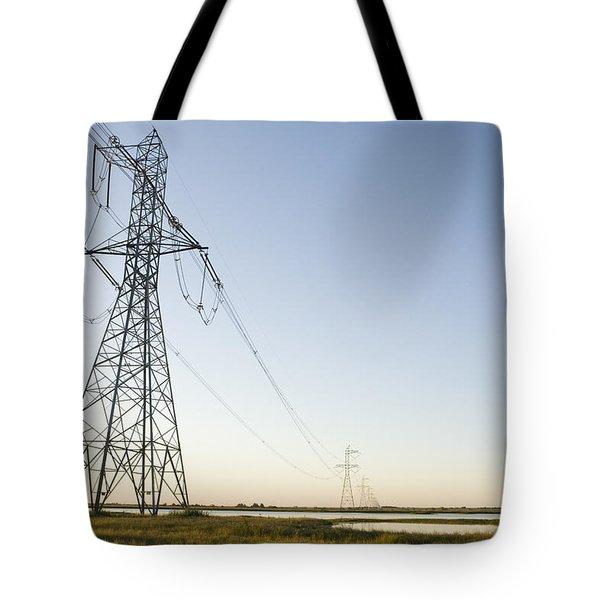 Powerlines Jepson Prairie Preserve Tote Bag by Sebastian Kennerknecht