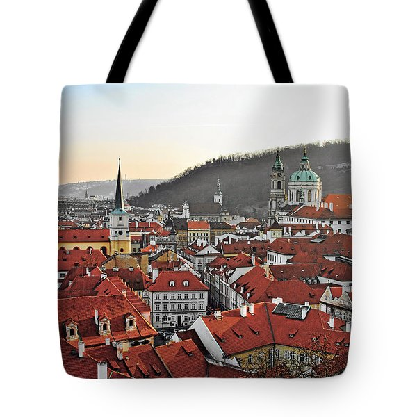 Prague - A Story Told By Rooftops Tote Bag by Christine Till