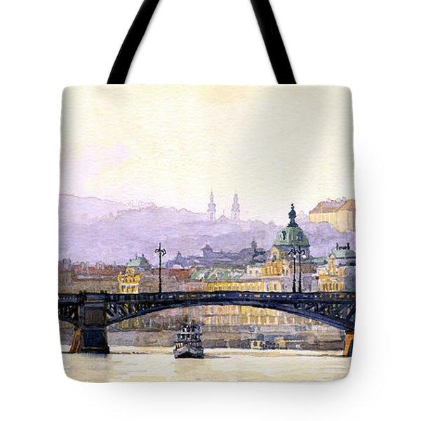 Prague Panorama Cechuv Bridge Variant Tote Bag by Yuriy  Shevchuk