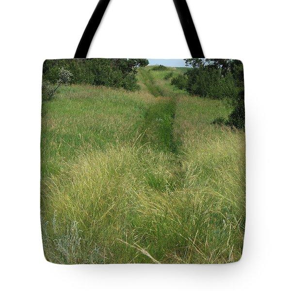 Prairie Trail In High Grass Tote Bag by Jim Sauchyn