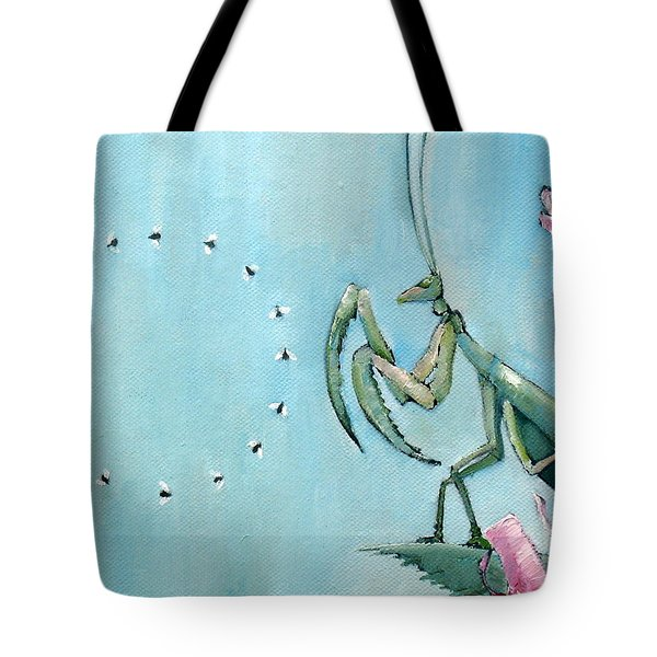 Praying Mantis And Flies In Circle Tote Bag by Fabrizio Cassetta