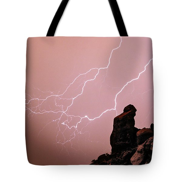Praying Monk Camelback Mountain Lightning Monsoon Storm Image Tote Bag by James BO  Insogna