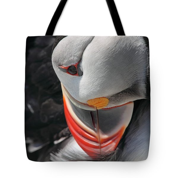 Preening Puffin Tote Bag by Bruce J Robinson