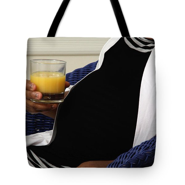 Pregnant Woman Drinking Orange Juice Tote Bag by Photo Researchers