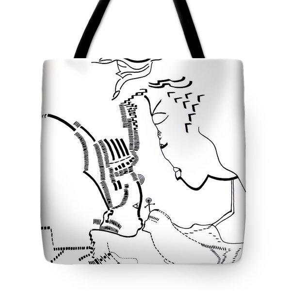 Tote Bag featuring the drawing Presentation Of Jesus In The Temple by Gloria Ssali