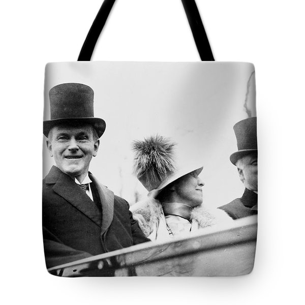 President Calvin Coolidge With His Wife And Senator Curtis On The Way To Capitol - C 1925 Tote Bag