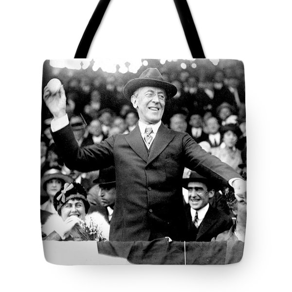 President Woodrow Wilson Throws Throws The First Pitch On Opening Day - C 1916 Tote Bag by International  Images