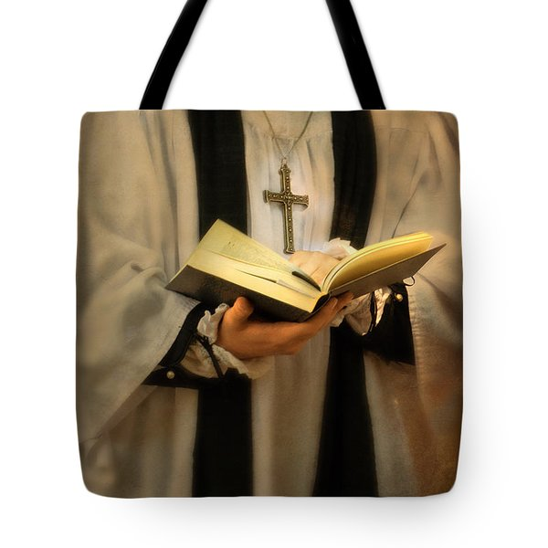 Priest With Open Bible Tote Bag by Jill Battaglia