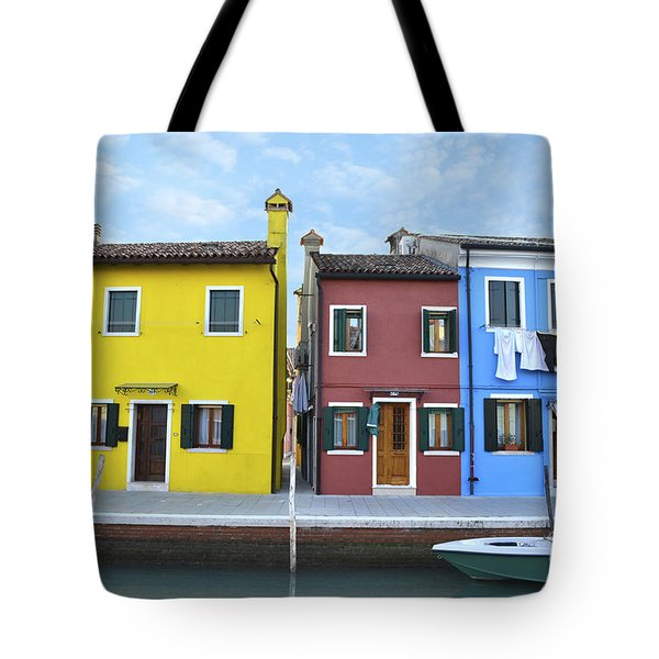 Tote Bag featuring the photograph Primary Colors In Burano Italy by Rebecca Margraf